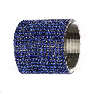 Silver-Tone-2-W-Royal-Blue-Crystal-Stretch-Bracelet-PageantBridalDrag-Queen-172154308312