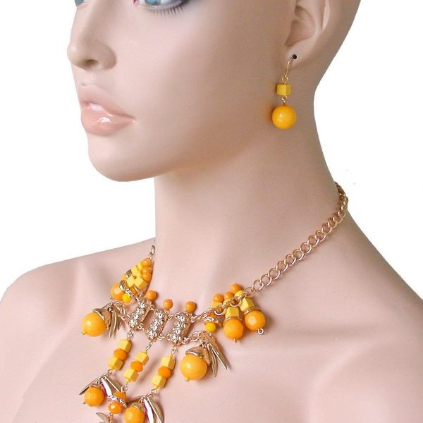 Statement Bib Necklace Earrings Set,Yellow Lucite Beads, Pageant, Drag Queen