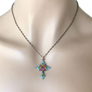Turquoise-Enamel-Crystals-Pendant-Cross-Necklace-By-Anne-Koplik-Made-In-USA-172813218522