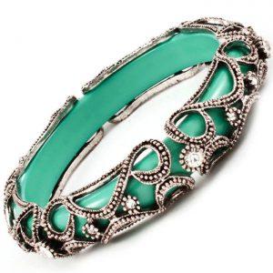 Turquoise-Green-LuciteSilver-Tone-Filigree-Clear-Rhinestones-Bangle-Bracelet-361759276792