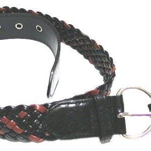 Vegan-Interlaced-Tan-Black-Faux-Leather-Belt-By-IZOD-SIZE-L-Golden-Buckle-172646612062