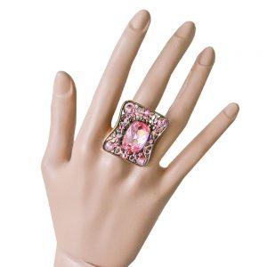 Vintage-Inspired-Rose-Pink-Crystal-Sizable-Ring-Signed-Anne-Koplik-Made-In-USA-172433839862