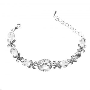 Vintage-Inspired-Silver-Tone-075-W-Clear-Crystals-Bracelet-Pageant-Bridal-361480941922