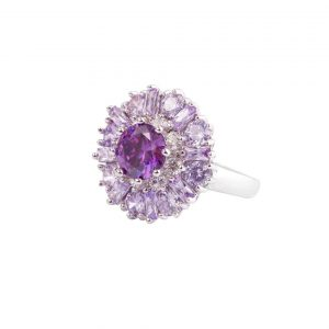075-Diameter-Light-Amethyst-Stamped-925-Sterling-Silver-Cluster-Ring-Size-78-172563665243