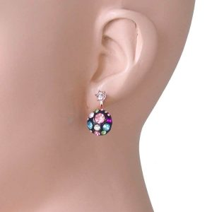 075-Drop-Earrings-By-Betsey-Johnson-Multicolor-Crystals-2-Styles-In-One-NWT-361885297153