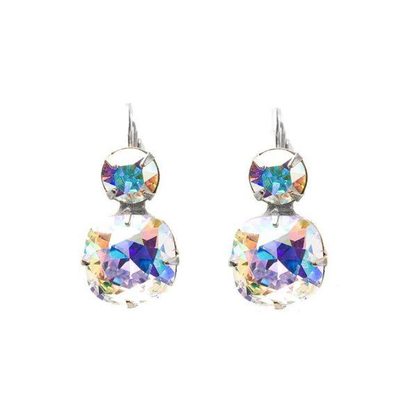 "1"" Drop Silver Tone Aurora Borealis Crystal Earrings By Sorrelli,Pageant, Bridal"