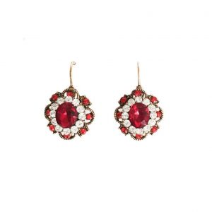 125-Drop-Rosette-Earrings-Red-Clear-Crystals-Antique-Gold-Tone-Bridal-172543420943