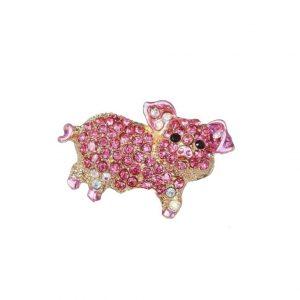 125-Wide-Pink-Rhinestones-Enamel-Pig-Piglet-Brooch-Pin-Gold-Tone-362053261133