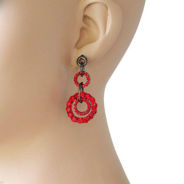 "2"" Drop Cranberry Red Crystals, Gunmetal Finish Hoop Earrings, Pierced Ears"