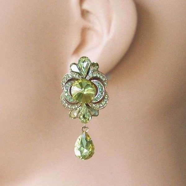 """2"""" Long, Light Yellow Crystals Clip On Earrings, Pageant, Drag Queen, Bridal"""