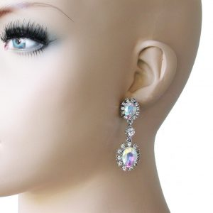 2-Long-Victorian-Inspired-Aurora-Borealis-Clip-On-Earring-PageantProm-Bridal-172544394413