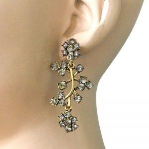 225-Long-Linear-Earrings-Gray-Rhinestones-Antique-GoldBronze-tone-172868755603