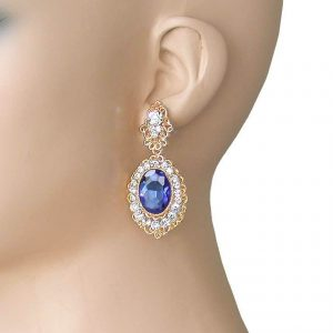 225-Montana-Blue-Glass-Golden-Earrings-For-Pierced-Ears-Pageant-Bridal-172535500633