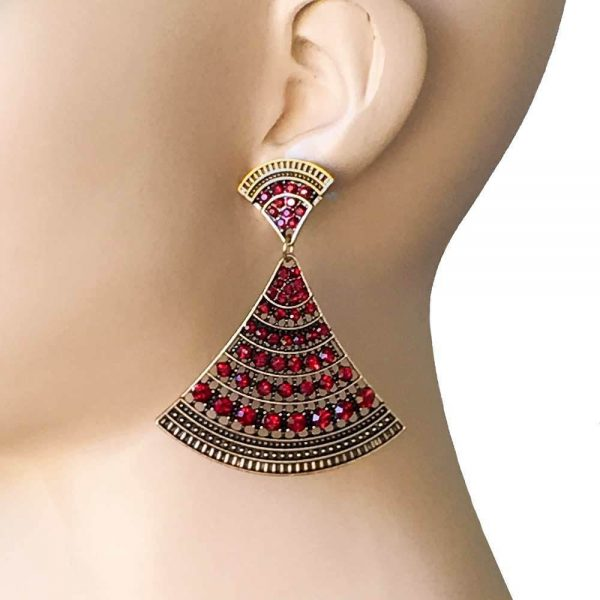"2.5"" Long Deco BOHEMIAN Inspired Filigree Earrings, Red Rhinestones Pageant"