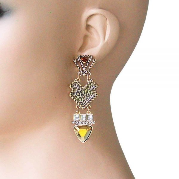 """2.75"""" Long Leopard Animal Print & Crystals African Ethnic Style Earrings"""