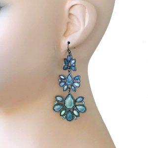 3-Long-Grayish-Blue-Lucite-Rhinestones-Earrings-Boho-Urban-362106164633