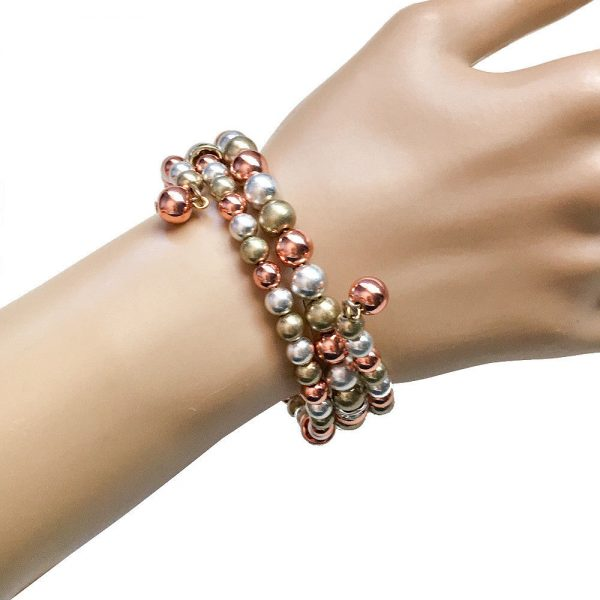 3-Strand Silver, Copper & Gold tone Beads, Coil Bangle Bracelet, Clear Crystals