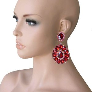325-Long-Cluster-Clip-On-Earrings-Red-Rhinestones-Drag-Queen-Pageant-361915428393