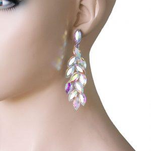 325-Long-Evening-Earrings-Aurora-Borealis-Glass-Drag-Queen-Bridal-Pageant-361915432173
