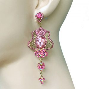 35-Long-Rose-Pink-Glass-Rhinestones-Evening-Earrings-Pageant-Bridal-362059168993