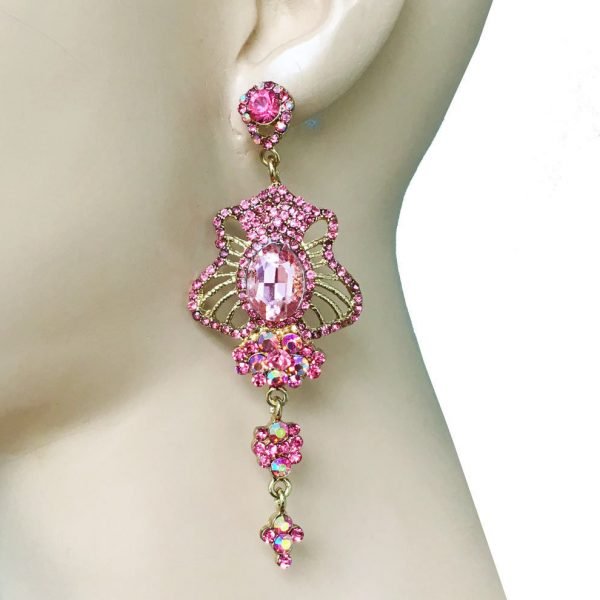 """3.5"""" Long, Rose Pink Glass & Rhinestones Evening Earrings, Pageant, Bridal"""