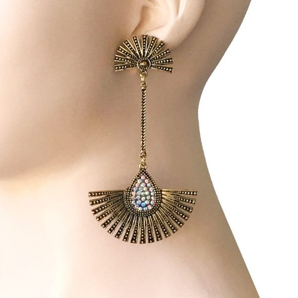 "3.75"" Long Deco Inspired Earrings, Aurora Borealis Rhinestone Pageant,Drag Queen"