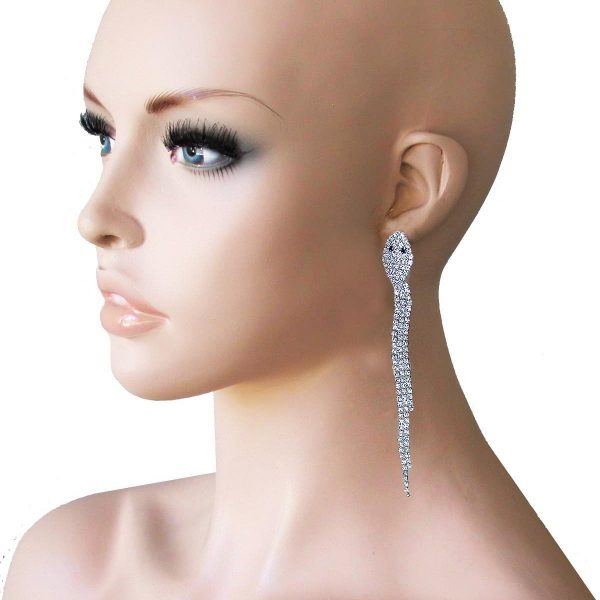 "4.5"" Long Snake Earrings, Clear Crystals, Pageant, Drag Queen, Light Weight"