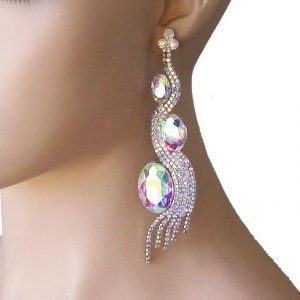 475-Long-Aurora-Borealis-Crystals-Evening-Earring-Pageant-Bridal-Drag-Queen-172739597793