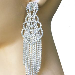5-Long-Gold-Tone-Clear-Rhinestones-Statemet-EarringsPageantDrag-QueenBridal-172776773613