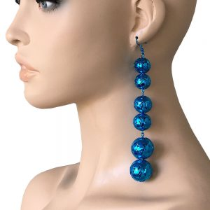 55-Long-Vivid-Metalic-Blue-Linear-Statement-BoHo-Earrings-Drag-QueenHip-Hop-172687683393