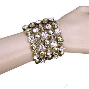 Antique-Gold-Tone-Skulls-Stretch-Bracelet-Clear-Crystals-Chic-Punk-Biker-172805506643