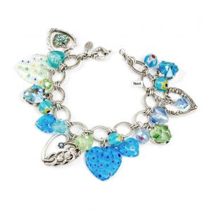 Aqua-Blue-Glass-Murano-Style-HeartsCharms-Bracelet-By-Sweet-Romance-Made-In-USA-172667667943