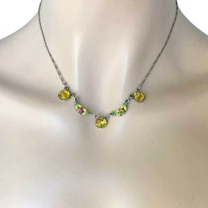 Dainty-Yellow-Crystals-Necklace-By-Anne-Koplik-Made-In-USA-Bridal-Pageant-172823491783