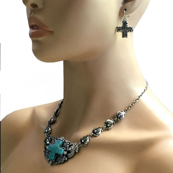 Designer Inspired Reconstructed Turquoise Cross Necklace Earrings Jewelry Set