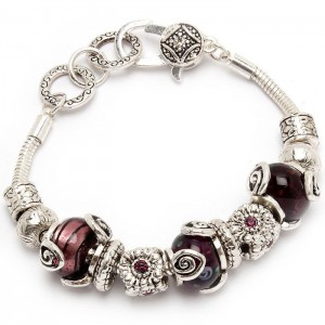 Designer-Look-Silver-Tone-Beads-Purple-Italian-Style-Glass-Crystals-Bracelet-172091579543