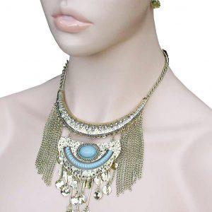 Ethnic-BOHO-Gold-Tone-Fringe-Coin-Necklace-Jewelry-Set-Blue-Lucite-Rhinestones-361994756003