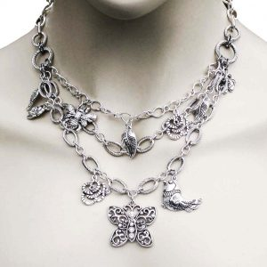 Garden-Elements-Silver-Tone-Multilayered-Charms-Necklace-Earrings-Set-Crystal-172703126163