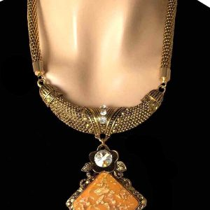 Gold-Tone-Apricot-Pendant-Crystal-European-Style-Statement-Chunky-Necklace-172854961283
