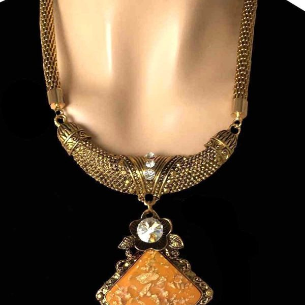Gold Tone Apricot Pendant, Crystal, European Style Statement Chunky Necklace