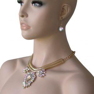 Gold-Tone-Aurora-Borealis-Acrylic-Rhinestones-Necklace-Earrings-Set-Bridal-361600400483