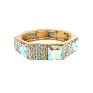 Gold-Tone-Bangle-Bracelet-Aurora-Borealis-AB-Glass-Clear-Crystals-Bridal-Pageant-361562370843