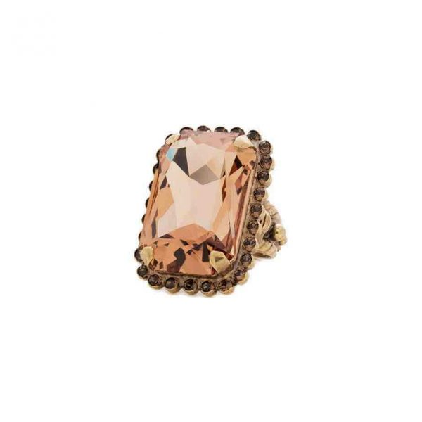 Green Tapestry Collection Cocktail Ring By Sorrelli, Brown & Cognac Crystals