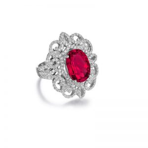Lab-Created-Ruby-Clear-CZ-Silver-Plated-Alloy-Cabochon-Ring-Size-85-172653863463