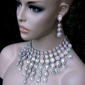 Luxurious-Aurora-Borealis-Glass-Bib-Statement-Necklace-Earrings-Set-Drag-Queen-172213157793