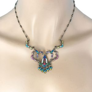 Multicolor-Crystals-Dainty-Necklace-By-Anne-Koplik-Made-In-USA-Signed-172779622093