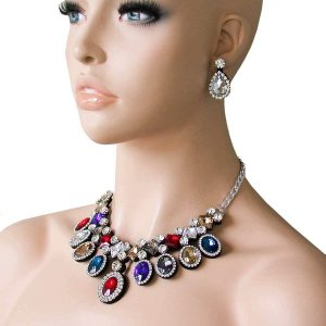 Multicolor-Statement-Fake-Necklace-Earrings-Set-Rhinestones-Drag-QueenPageant-172380845623
