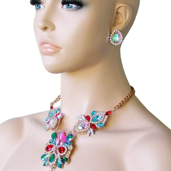 Multicolor Statement Necklace Set, Glass & Crystals, Drag Queen, Pageant, Bridal