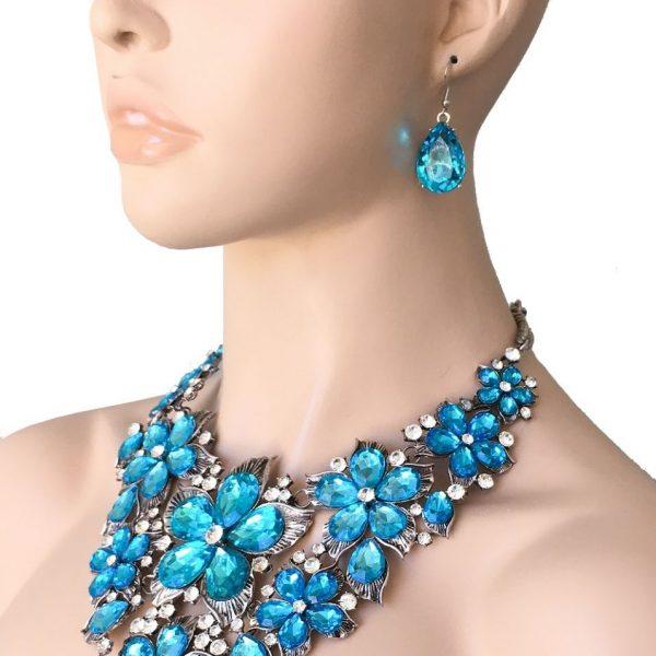 Pool Blue Rhinestones Bib Statement Necklace & Earrings Drag Set Queen, Pageant