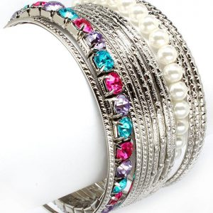 Silver-Tone-Set-of-13-Bracelets-With-Blue-Lavender-and-Pink-Beads-Faux-Pearls-172228503583