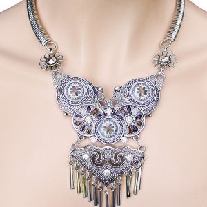 Silver-Tone-Statement-Bib-Necklace-Rhinestones-Formica-Turkish-Style-362071604473